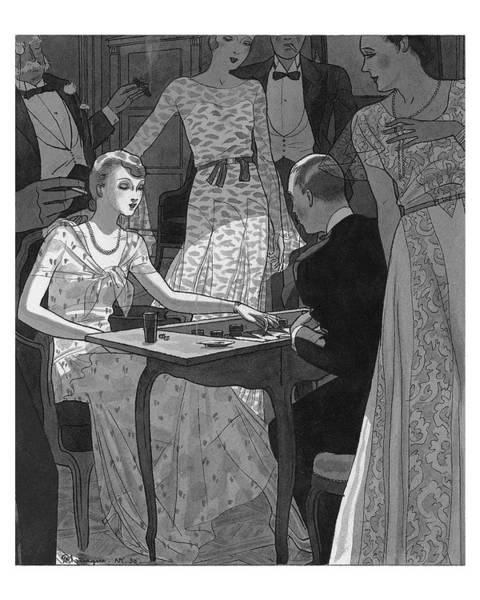 Illustration Of A Woman And Man Playing Backgammon Art Print by Pierre Mourgue