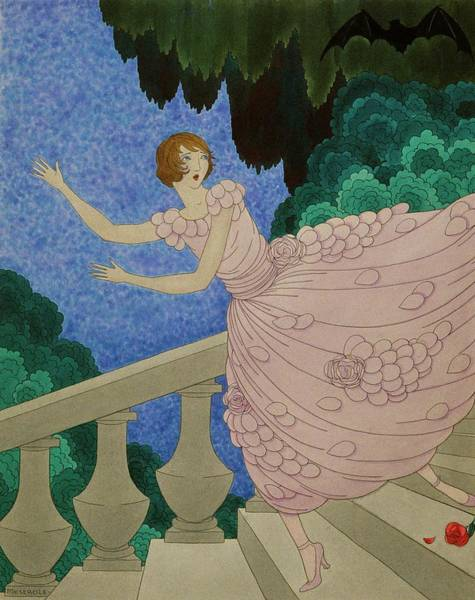 Night Sky Digital Art - Illustration Of A Woman Running Down A Staircase by Harriet Meserole