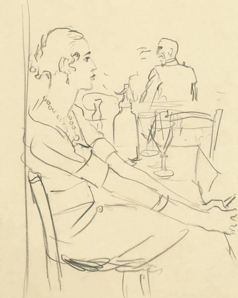 Room Digital Art - Illustration Of A Woman Sitting Down by Carl Oscar August Erickson