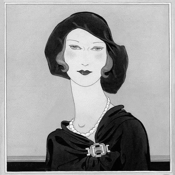 Necklace Digital Art - Illustration Of A Woman Wearing A Hat by Douglas Pollard