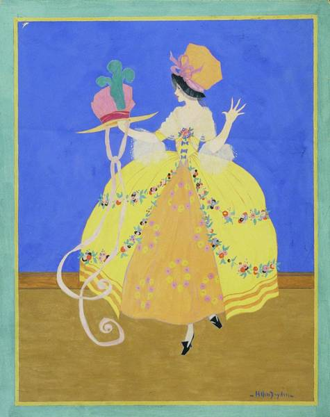 Pink Digital Art - Illustration Of A Woman Wearing A Period Costume by Helen Dryden