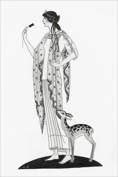 Illustration Of A Woman With A Deer Art Print