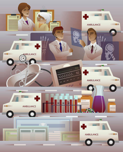 Wall Art - Photograph - Illustration Of Ambulance And Hospital by Fanatic Studio / Science Photo Library