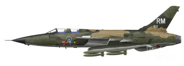 Cutout Digital Art - Illustration Of An F-105f Thunderchief by Inkworm