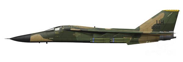 Cutout Digital Art - Illustration Of An F-111e Aardvark by Inkworm
