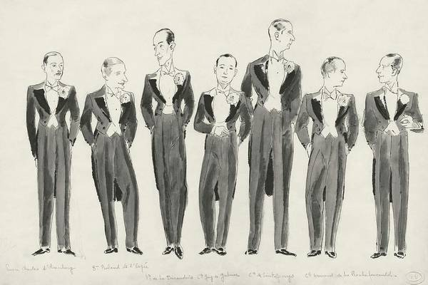 Digital Art - Illustration Of Bachelors In Tuxedos by Jean Pages