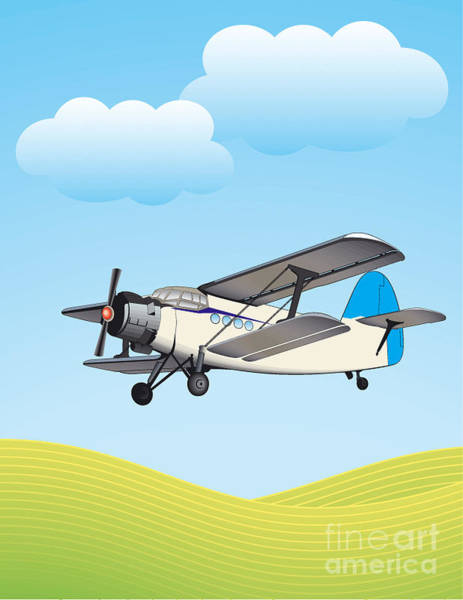 Blue Sky Digital Art - Illustration Of Biplane Flying by Aleksandar Dickov