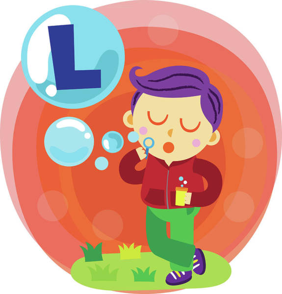 Word Play Photograph - Illustration Of Boy Blowing Letter L Bubble With Bubble Wand by Fanatic Studio / Science Photo Library