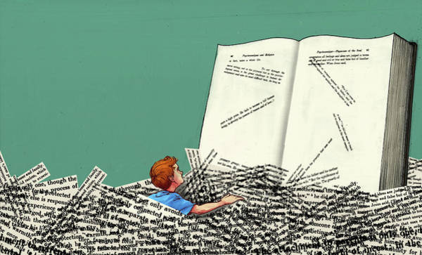 Burden Wall Art - Photograph - Illustration Of Boy In Heap Of Papers Reading Book by Fanatic Studio / Science Photo Library