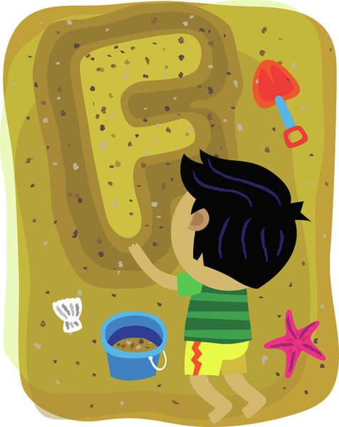Bucket Photograph - Illustration Of Boy Making Letter F With Sand by Fanatic Studio / Science Photo Library
