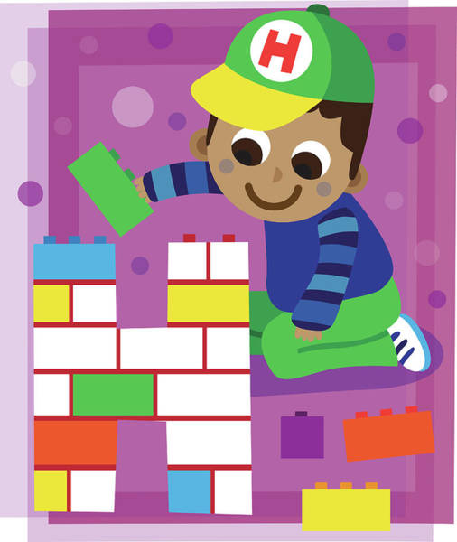 Word Play Photograph - Illustration Of Boy Making Letter H With Blocks by Fanatic Studio / Science Photo Library