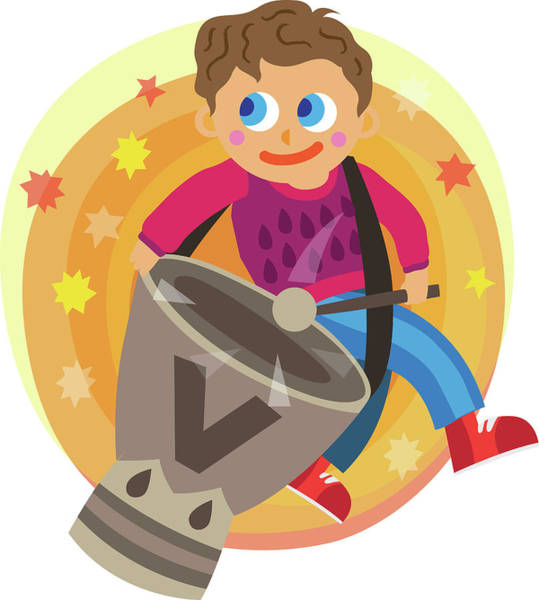 Wall Art - Photograph - Illustration Of Boy Playing Drum Over White Background by Fanatic Studio / Science Photo Library
