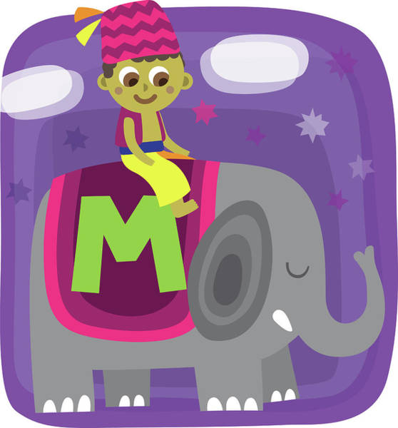 Word Play Photograph - Illustration Of Boy Sitting On Elephant With Letter M by Fanatic Studio / Science Photo Library