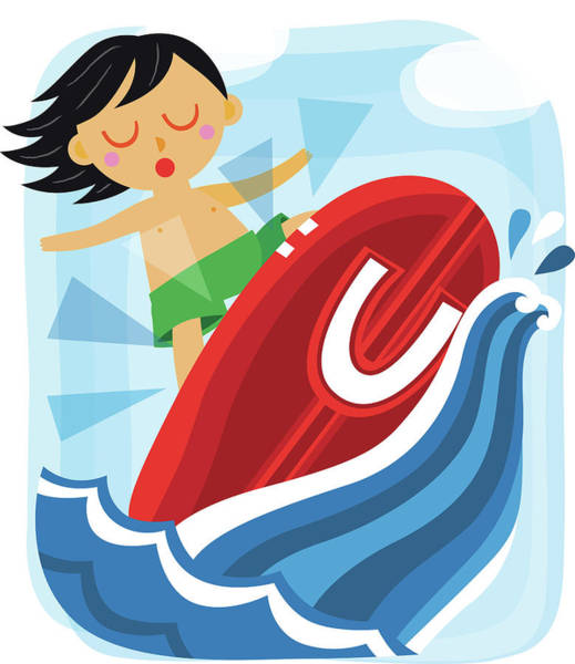 Word Play Photograph - Illustration Of Boy Surfing With Letter U by Fanatic Studio / Science Photo Library