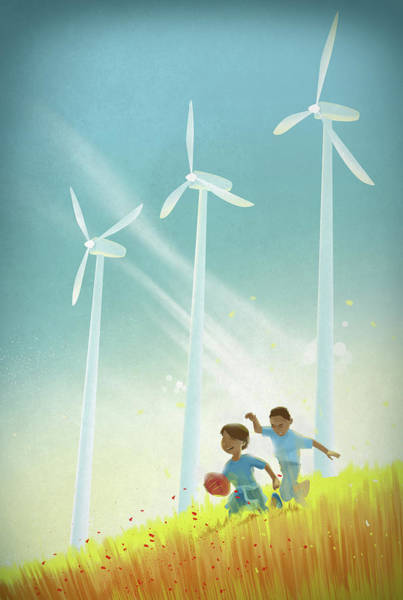 Chase Photograph - Illustration Of Boys Playing Rugby In Field by Fanatic Studio / Science Photo Library