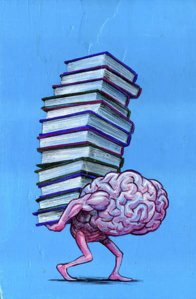 Wall Art - Photograph - Illustration Of Brain Carrying Stacked Books by Fanatic Studio / Science Photo Library
