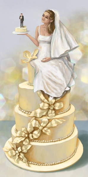 Wedding Cake Photograph - Illustration Of Bride And Groom On Cake by Fanatic Studio / Science Photo Library