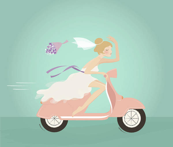 Wedding Bouquet Photograph - Illustration Of Bride Throwing Bouquet by Fanatic Studio / Science Photo Library