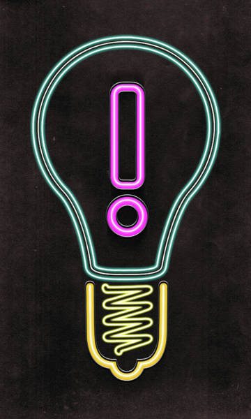 Suggestion Photograph - Illustration Of Bulb With Exclamation Mark by Fanatic Studio / Science Photo Library