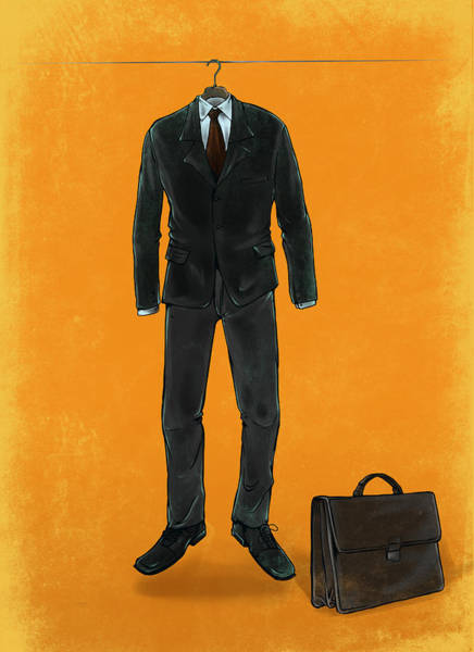 Faceless Photograph - Illustration Of Business Suit Hanging On Rope by Fanatic Studio / Science Photo Library