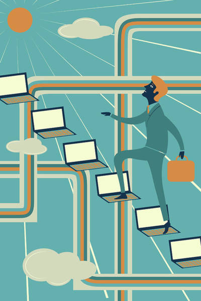Aim Photograph - Illustration Of Businessman Climbing Laptops by Fanatic Studio / Science Photo Library