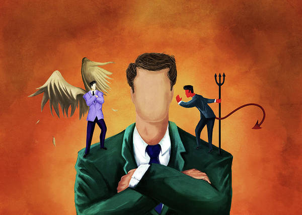 Suggestion Photograph - Illustration Of Businessman Getting Advice by Fanatic Studio / Science Photo Library