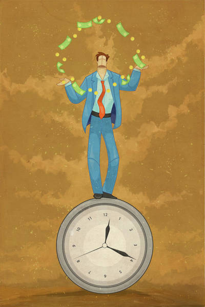 Juggler Photograph - Illustration Of Businessman Juggling Money On Top Of Clock by Fanatic Studio / Science Photo Library