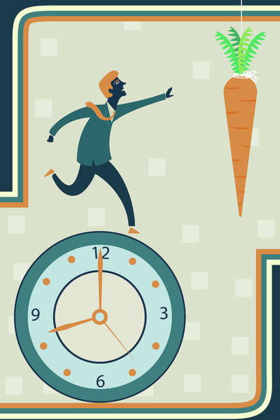Aim Photograph - Illustration Of Businessman Running On Clock by Fanatic Studio / Science Photo Library