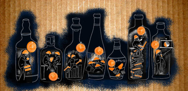 Business Cycles Wall Art - Photograph - Illustration Of Businessmen Working In Bottles by Fanatic Studio / Science Photo Library