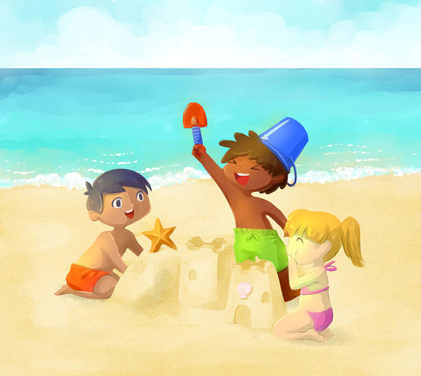 Bucket Photograph - Illustration Of Children Building Sand Castle On Beach by Fanatic Studio / Science Photo Library