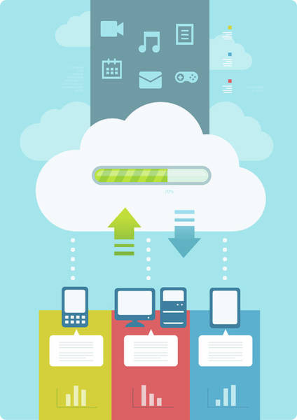 E-reader Wall Art - Photograph - Illustration Of Cloud Computing by Fanatic Studio / Science Photo Library