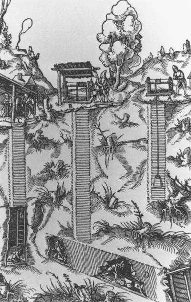 Coal Mining Photograph - Illustration Of Coal Mining In 16th Century by Science Photo Library