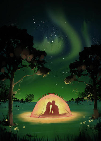 Passionate Photograph - Illustration Of Couple Kissing In Tent At Dawn by Fanatic Studio / Science Photo Library