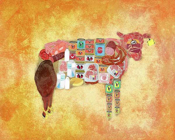 Tag Photograph - Illustration Of Cow With Products Over Coloured Background by Fanatic Studio / Science Photo Library