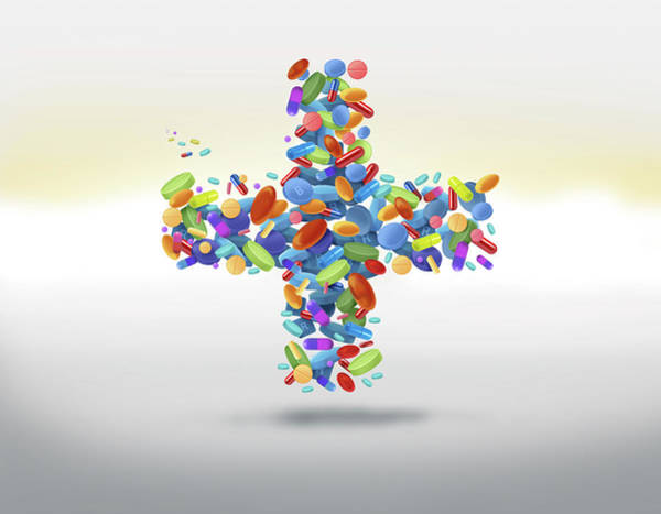 Options Wall Art - Photograph - Illustration Of Cross Shaped Medicines by Fanatic Studio / Science Photo Library