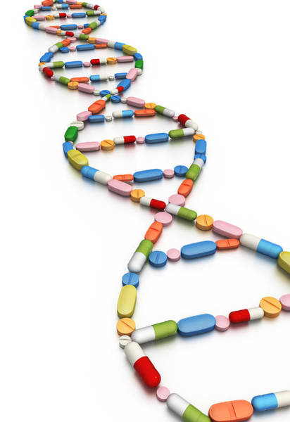 Options Wall Art - Photograph - Illustration Of Dna Replica Made From Tablets by Fanatic Studio / Science Photo Library