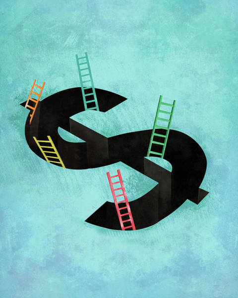 Financial Crisis Photograph - Illustration Of Dollar Sign With Ladders by Fanatic Studio / Science Photo Library