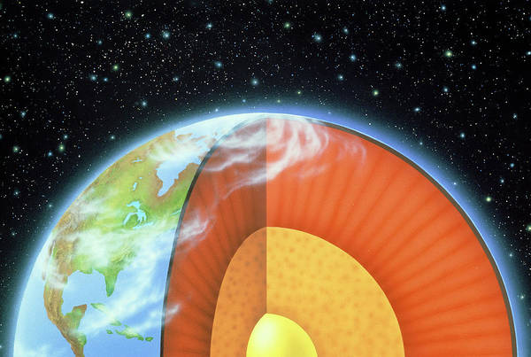 Core Wall Art - Photograph - Illustration Of Earth Showing Interior Structure by Lynette Cook/science Photo Library