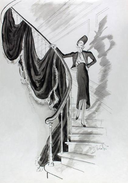 Wall Art - Photograph - Illustration Of Elsa Shiaparelli On A Staircase by Cecil Beaton