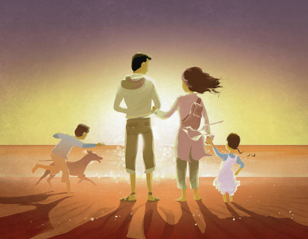 Middle Of Nowhere Photograph - Illustration Of Family And Pet On Beach At Sunset by Fanatic Studio / Science Photo Library
