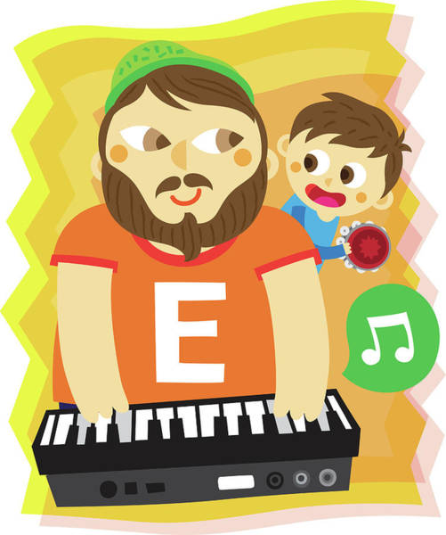 Word Play Photograph - Illustration Of Father And Son Playing Musical Instrument by Fanatic Studio / Science Photo Library