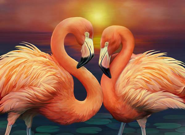 Illustration Digital Art - Illustration Of Flamingos by Illustration By Shannon Posedenti