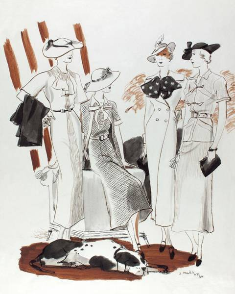 Pet Digital Art - Illustration Of Four Models In Luncheon Costumes by Jean Pages