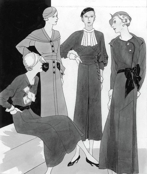Glamour Digital Art - Illustration Of Four Well Dressed Women by Polly Tigue Francis