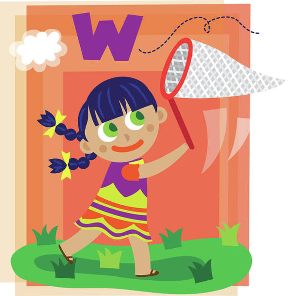 Word Play Photograph - Illustration Of Girl Catching Letter W With Butterfly Net by Fanatic Studio / Science Photo Library