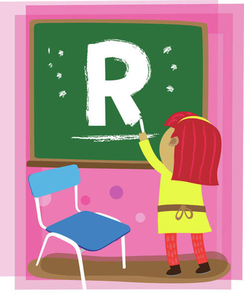 Word Play Photograph - Illustration Of Girl Drawing Letter R by Fanatic Studio / Science Photo Library