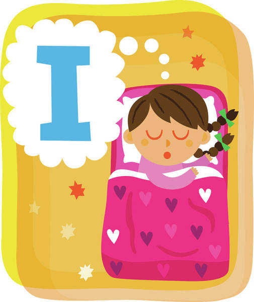 Word Play Photograph - Illustration Of Girl Dreaming About Letter I In Bed by Fanatic Studio / Science Photo Library