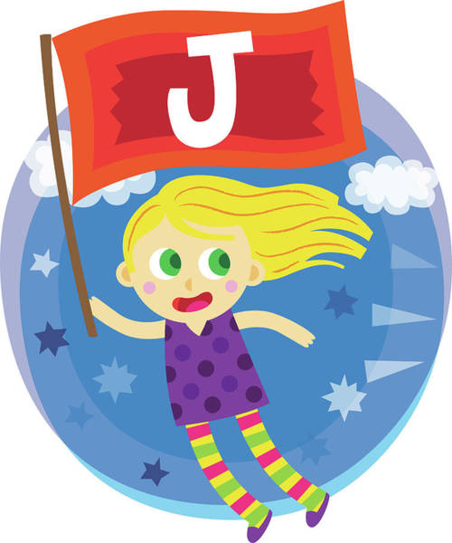 Word Play Photograph - Illustration Of Girl Flying While Holding Flag With Letter J by Fanatic Studio / Science Photo Library
