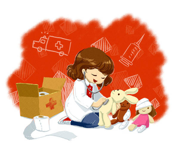 Bandage Photograph - Illustration Of Girl In Lab Coat Examining Teddy Bear by Fanatic Studio / Science Photo Library