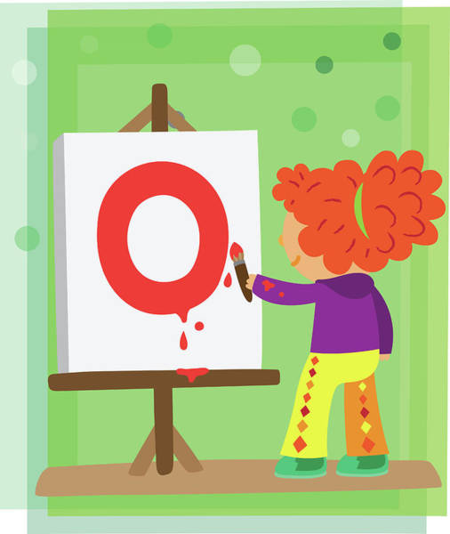 Word Play Photograph - Illustration Of Girl Painting Letter O by Fanatic Studio / Science Photo Library